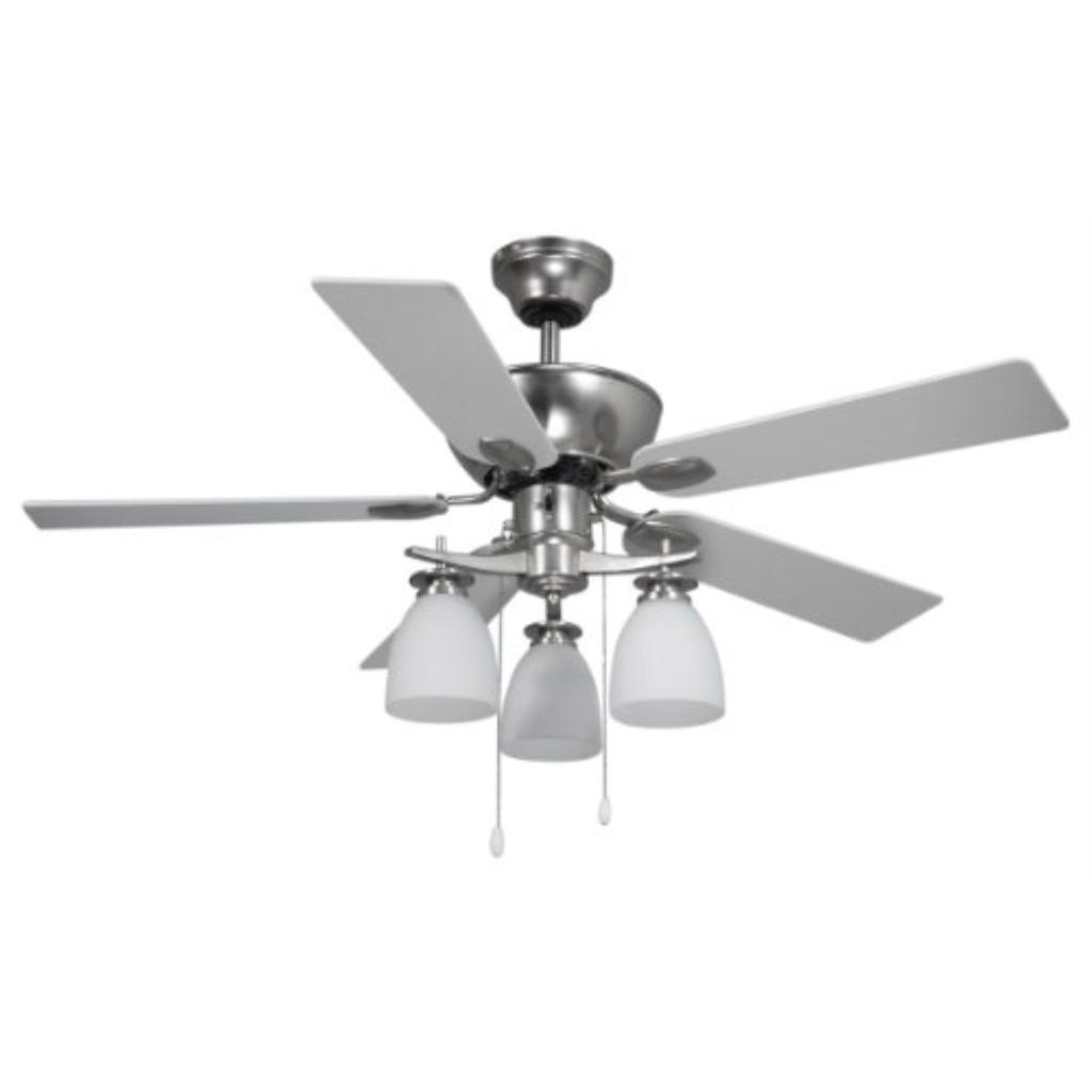 Canarm CF42NEW5BPT New Yorker Dual Mount 42-Inch Ceiling Fan with Flat Opal Light Kit and 5 Reversible Blades, Brushed Pewter