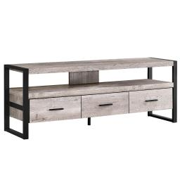 "Offex 60""L Modern Taupe Reclaimed Wood - Look TV Stand with 3 Storage Drawers"