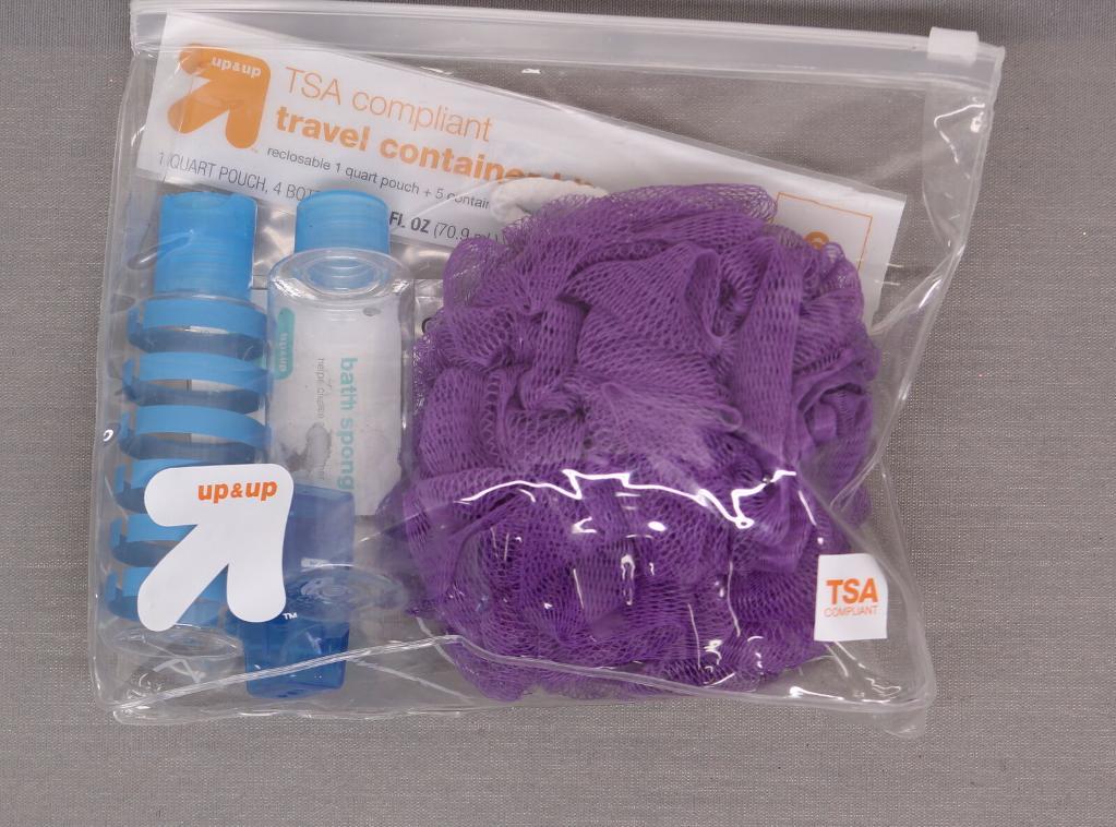 NWT TSA Complient Travel Kit + Scrubby Bath Sponge Ball