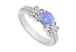 December Birthstone Created Tanzanite and CZ Engagement Rings in 14kt White Gold 1.00.ct.tgw
