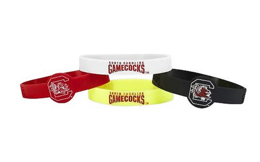Sports Team Logo NCAA South Carolina Gamecocks Silicone Bracelets - 4 Pack
