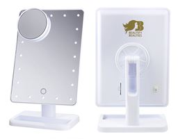 Beautify Beauties Lighted Makeup Mirror, Rotatable with Battery Operated LED Lights (White) - 1 ea