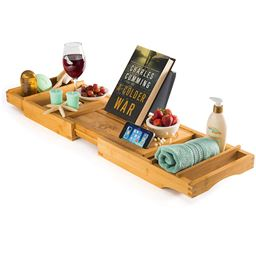 Bath Tray for Tub Premium Bamboo Bathtub Tray - Natural Wood Luxury Bathtub Caddy Tray Extending Sides, Reading Rack, Tablet Holder, Cellphone Tray, Wine Glass Holder - Great Gift for Valentine's Day
