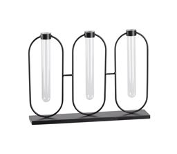 Urban Trends Metal Clustered Bud Vase Holder with 3 Small Glass Tube Vases in Coated Finish - Black