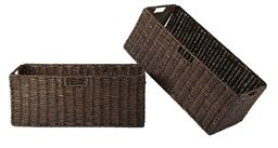 Winsome Granville Foldable 2-Piece Large Corn Husk Baskets, Chocolate