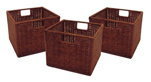 Winsome Home Decor Leo Small Wired Baskets - Set of 3, Rattan