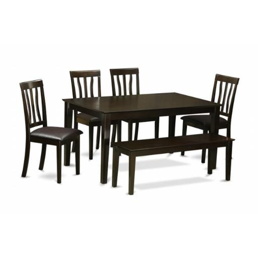 East West Furniture CAAN6-CAP-LC 6 Piece Dining Room Table With Bench Set- Dining Table With4 Dining Chairs and A Bench