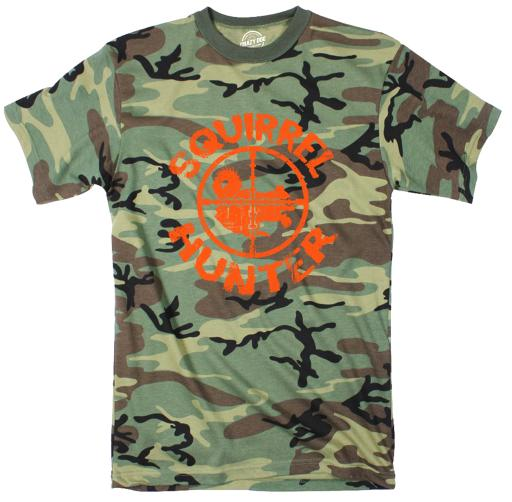 Youth Squirrel Hunter Funny Animal Hunting Camouflage T shirt (Orange Ink)