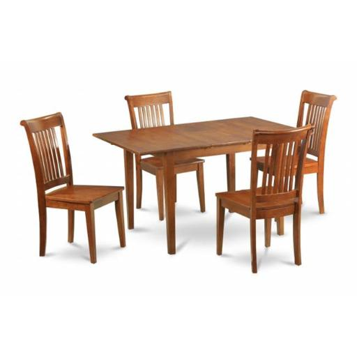 East West Furniture MLPO7-SBR-W 7 Piece Kitchen Nook Dining Set-Kitchen Table and 6 Dining Room Chairs