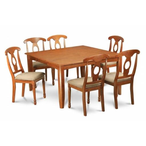 East West Furniture PFNA7-SBR-C 7 Piece Formal Dining Room Set For 6-Dining Table and 6 Dinette Chairs