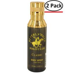 Beverly Hills Polo Club Classic by Beverly Fragrances Body Spray 6 oz for Men (Package of 2)