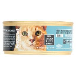 Petguard Cats Food - Fish, Chicken and Liver - Case of 24 - 5.5 oz.