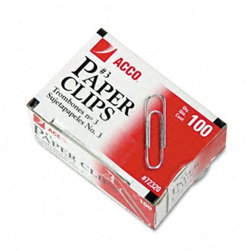 Acco 72320 Smooth Finish Economy Paper Clips Steel No. 3 Silver 100/Box 10 Bxs/Pk