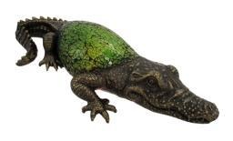 Green Crackle Glass Alligator Table Accent Lamp