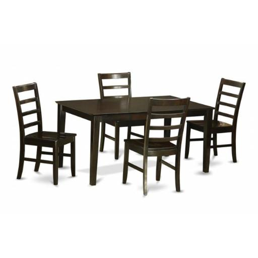 East West Furniture CAPF5-CAP-W 5 Piece Dining Room Table Set-Glass Top Dining Table and 4 Dining Room Chairs