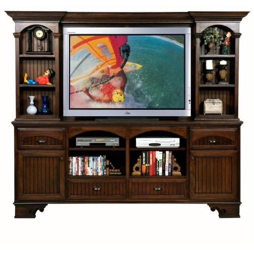 Eagle Furniture 11560NGSS-16089WPSS American Premiere 90 in. Entertainment Console & Hutch with 60 in. Opening, Summer Sage