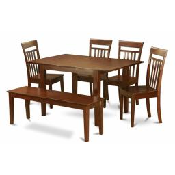 East West Furniture PSCA6C-MAH-W 6 Pc Dining Table 32x60in With 4 Slatted Back wood Seat Chairs and 51-in Long Bench