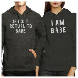 If Lost Return To Babe Cute Couples Graphic Hoodies Charcoal Grey