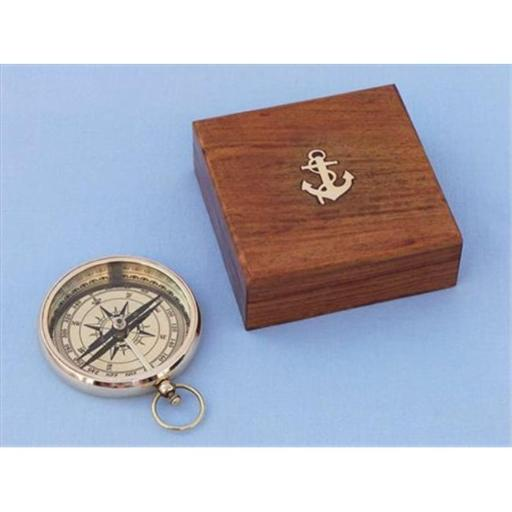 Solid Brass Beveled Lensatic Compass With Rosewood Box 4 in. Compasses Decorative Accent