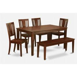 East West Furniture CADU6C-MAH-W Capri 6PC Rectangualar Table and 4 Dudley Wood seat chairs and 51-in Long bench