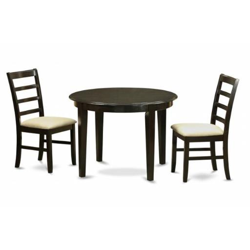 East West Furniture BOPF3-CAP-C 3 Piece Small Kitchen Table Set-Small Kitchen Table and2 Dinette Chairs