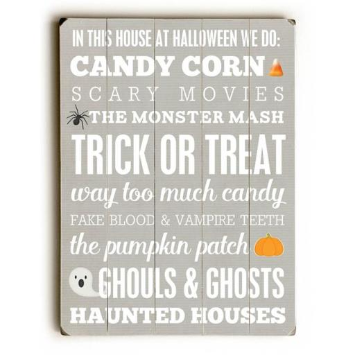 One Bella Casa 0004-9650-38 12 x 16 in. Halloween Subway Wall Sign Planked Wood Wall Decor by Cheryl Overton