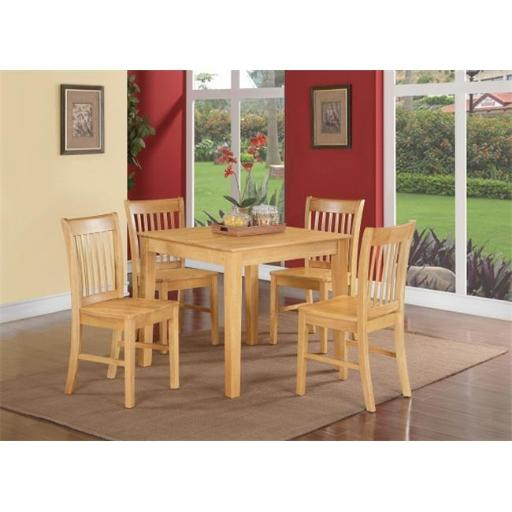 East West Furniture OXNO5-OAK-W 5 Piece Kitchen Table- Square Table and 4 Kitchen Dining Chairs
