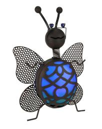 Brown Metalwork Garden Bug LED Lighted Solar Statue