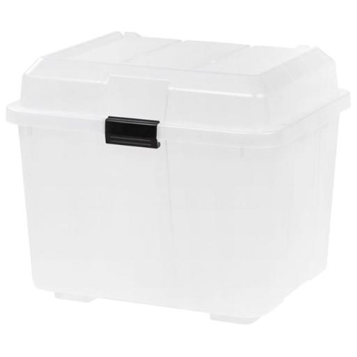 IRIS 1597240 Hinged Storage Trunk, Clear with Black Buckle - 16.9 gal