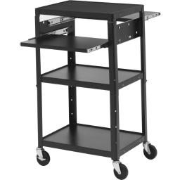 Bretford a2642dnse adjustable av cart with two slide out accessory shelves.  black color.  6-outlet
