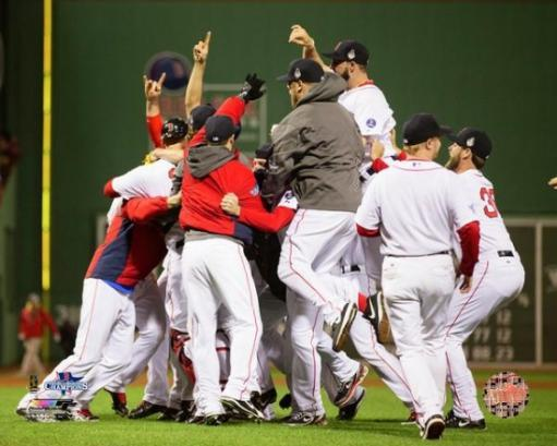 The Boston Red Sox celebrate winning Game 6 of the 2013 World Series Photo Print