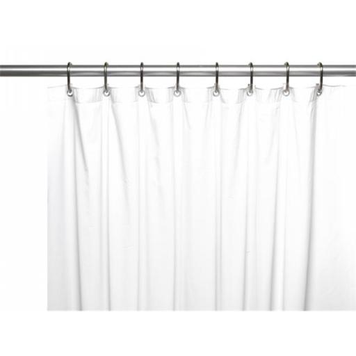Carnation Home Fashions USC-10-XL-21 70 x 84 in. 10 Gauge Vinyl Shower Extra Long Curtain Liner with Metal Grommets & Reinforced Mesh Header, White