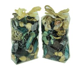 Double Bag Lot of Blueberry Blue and Beige Dried Botanical Decorative Filler