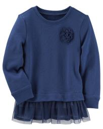 Carter's Baby Girls' Rosette Peplum Top, Navy, 6 Months