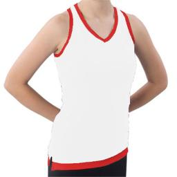 Pizzazz Performance Wear 8800 -WHTRED-AXL 8800 Adult Layered Look Top - White with Red - Adult X-Large