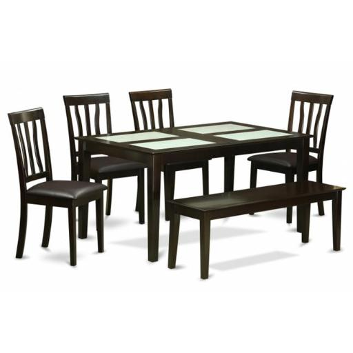 East West Furniture CAAN6G-CAP-LC 6 Piece Kitchen Table With Bench Set- Glass Top Table and 4 Dining Chairs Plus A Bench
