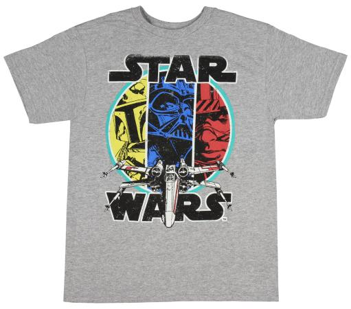 Star Wars Boys' Shirt Darth Vader Boba Fett Luke Skywalker Distressed Tee