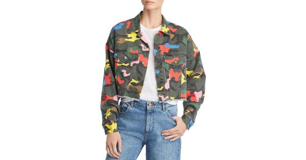 Signatures Womens Camo Crop Denim Jacket