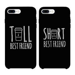 Tall Cup and Short Cup BFF Black Matching Phone Cases