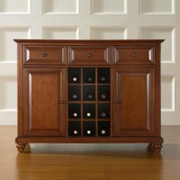Crosley Cambridge Buffet Server / Sideboard Cabinet with Wine Storage in Classic Cherry Finish