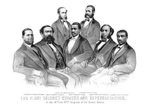 American History print of the first African American Senator and Representatives Poster Print