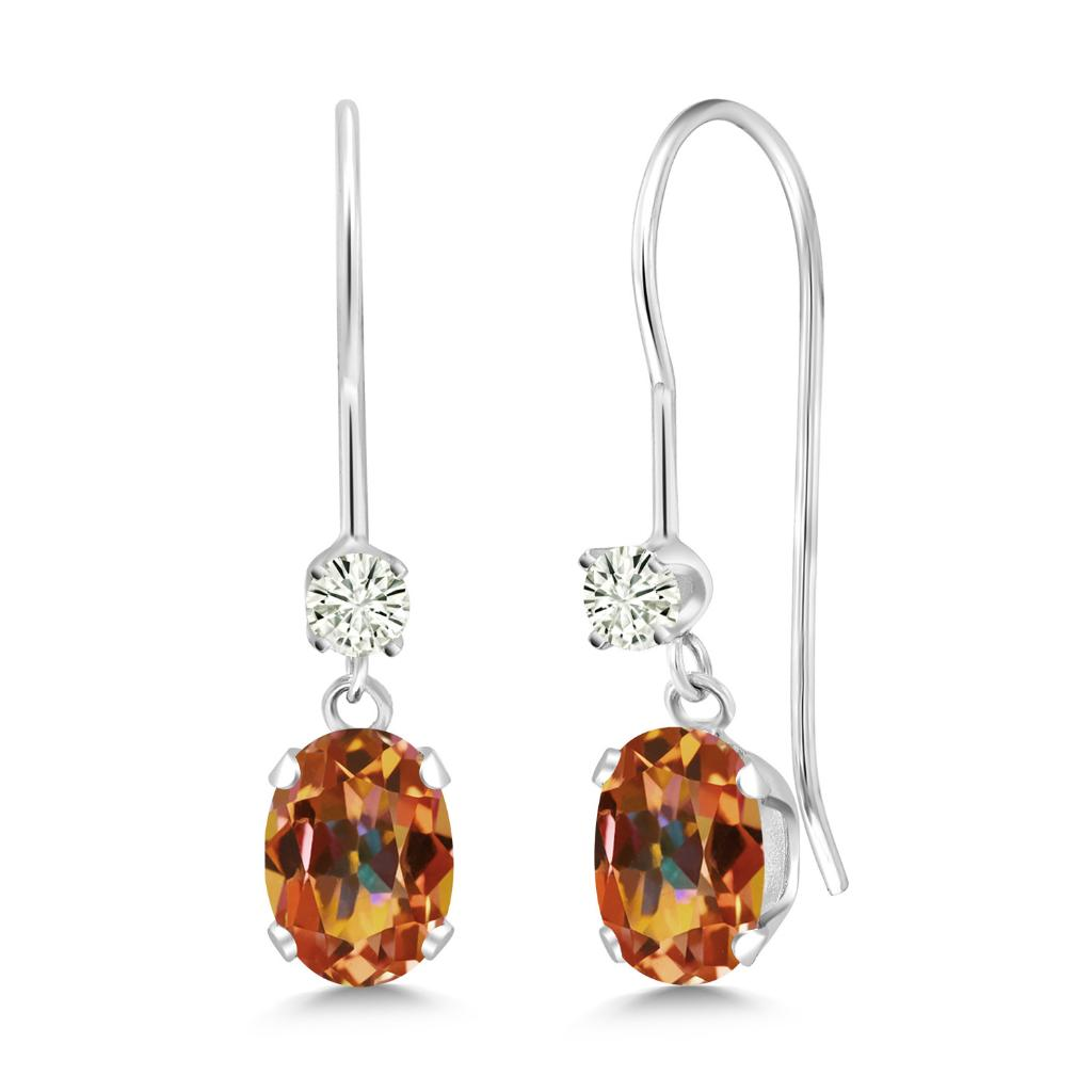 14K White Gold Dangle Earrings Oval Ecstasy Mystic Topaz and Forever Classic Created Moissanite 0.12ct (DEW) by Charles & Colvard