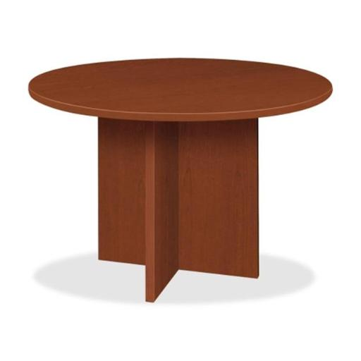 BASYX BSXBLC48DA1A1 Round Conference Table with X- Base 48 in. D Medium Cherry