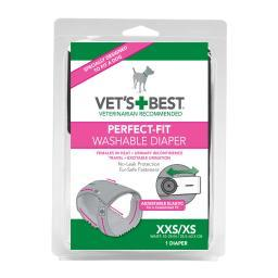 Vet'S Best 3165810416 Gray Vet'S Best Perfect-Fit Washable Female Dog Diaper 1 Pack Extra Extra Small / Extra Small Gr