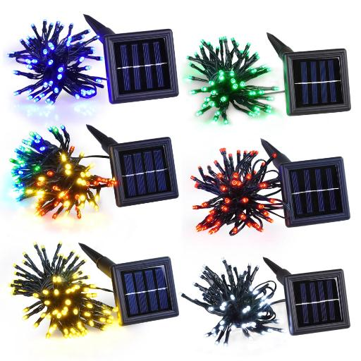 Yescom 100 LEDs Red Solar Powered String Light Flash+Static Lighting Modes Waterproof Outdoor