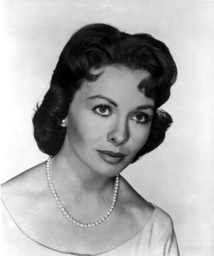 Jeanne Crain Portrait in White Dress and Pearl Necklace and Pearl Earrings Photo Print