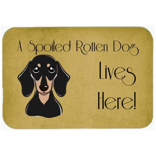 Carolines Treasures BB1463CMT Smooth Black And Tan Dachshund Spoiled Dog Lives Here Kitchen & Bath Mat, 20 x 30