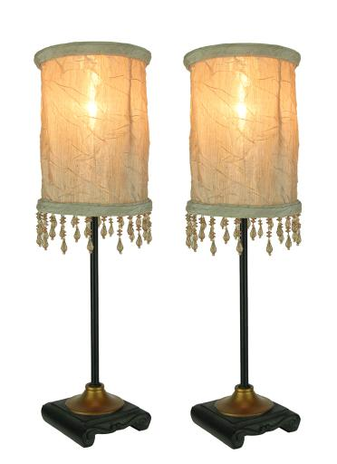 Vintage Style Accent Lamp with White Beaded Fringe Fabric Shade Set of 2