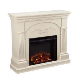 Holly and Martin Salerno Electric Fireplace in Ivory