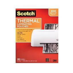 3m mobile interactive solution tp3854-200 thermal pouches, letter size,3 mil thick